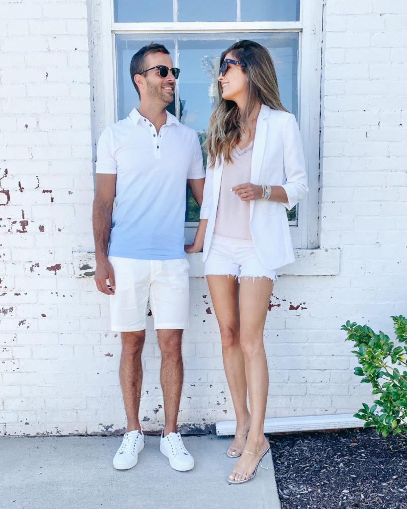 white summer shorts for men and women on pinteresting plans fashion blog