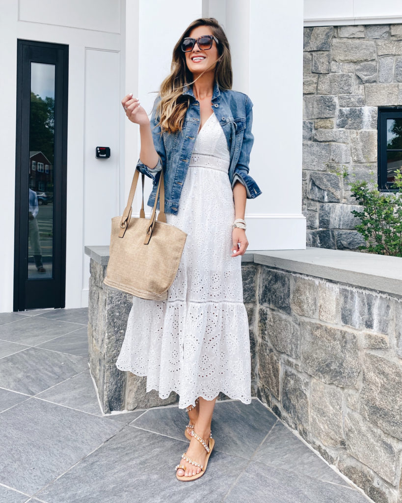 amazon white eyelet tiered spaghetti strap summer maxi dress with denim jacket on pinteresting plans blog