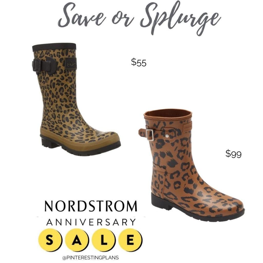 save or splurge amazon and nordstrom anniversary sale leopard print short hunter rain boots