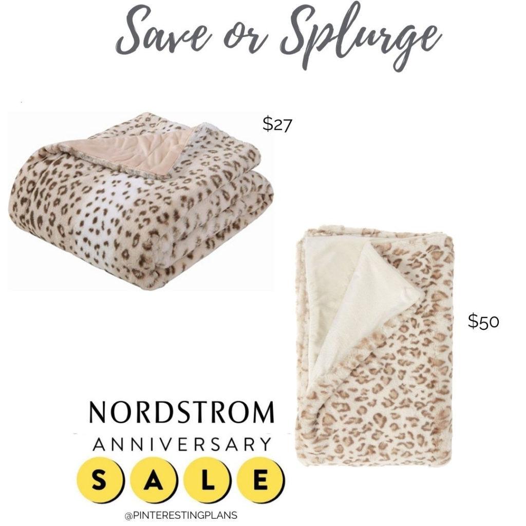 save or splurge amazon and nordstrom anniversary sale leopard print fur throw blanket