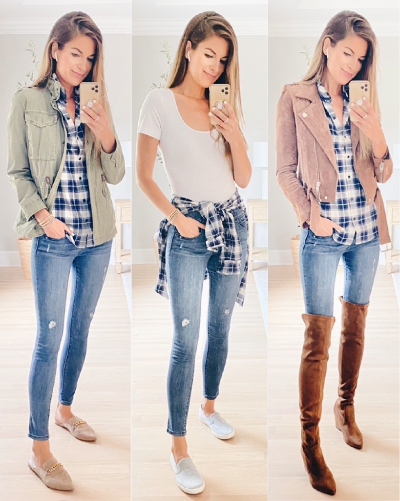plaid shirt around waist, with utility jacket and over the knee boots on pinteresting plans blog