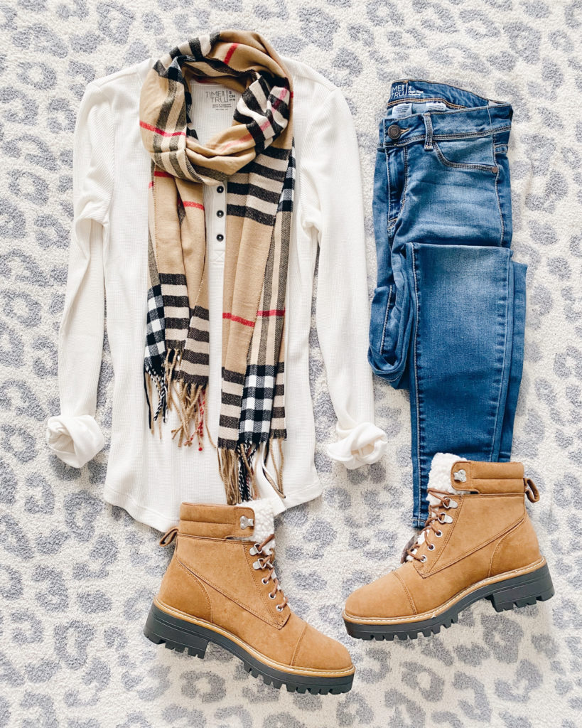 simple casual fall outfit henley jeans and shearling hiker boots
