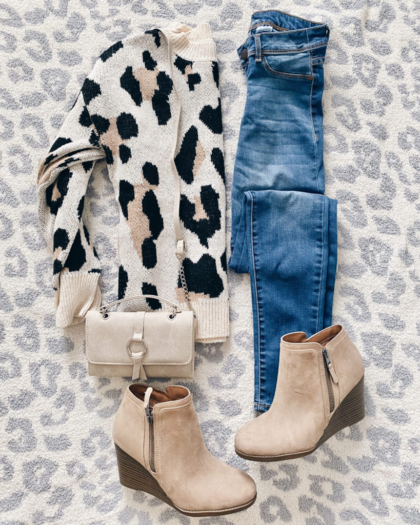 leopard sweater and jeans outfit idea for fall on pinteresting plans fashion blog