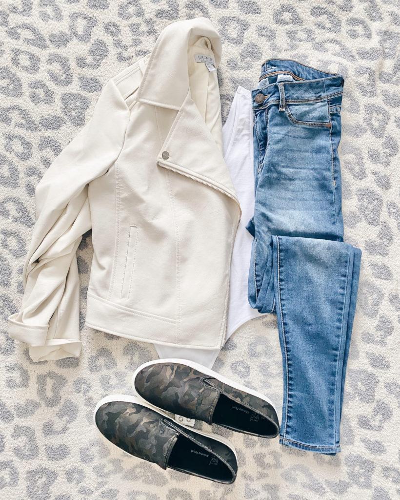 white moto jacket fall casual outfit idea on pinteresting plans fashion blog