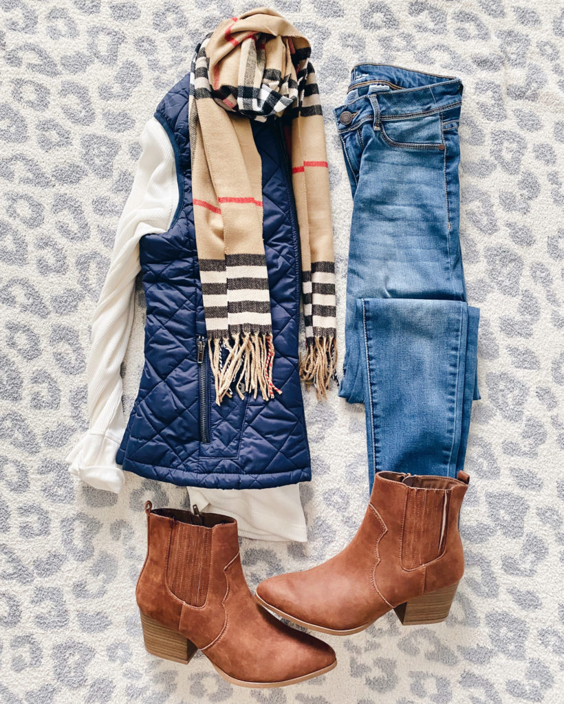 affordable burberry inspired scarf new england fall casual outfit