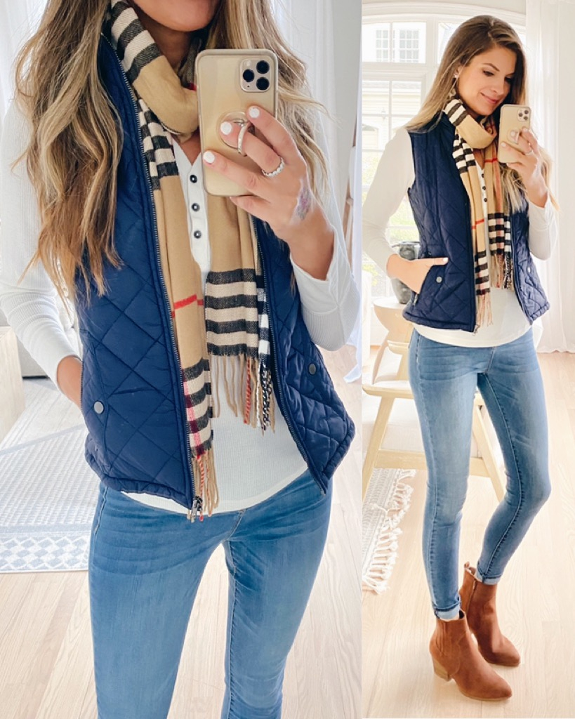 affordable fall navy quilted vest with western booties outfit on pinteresting plans blog