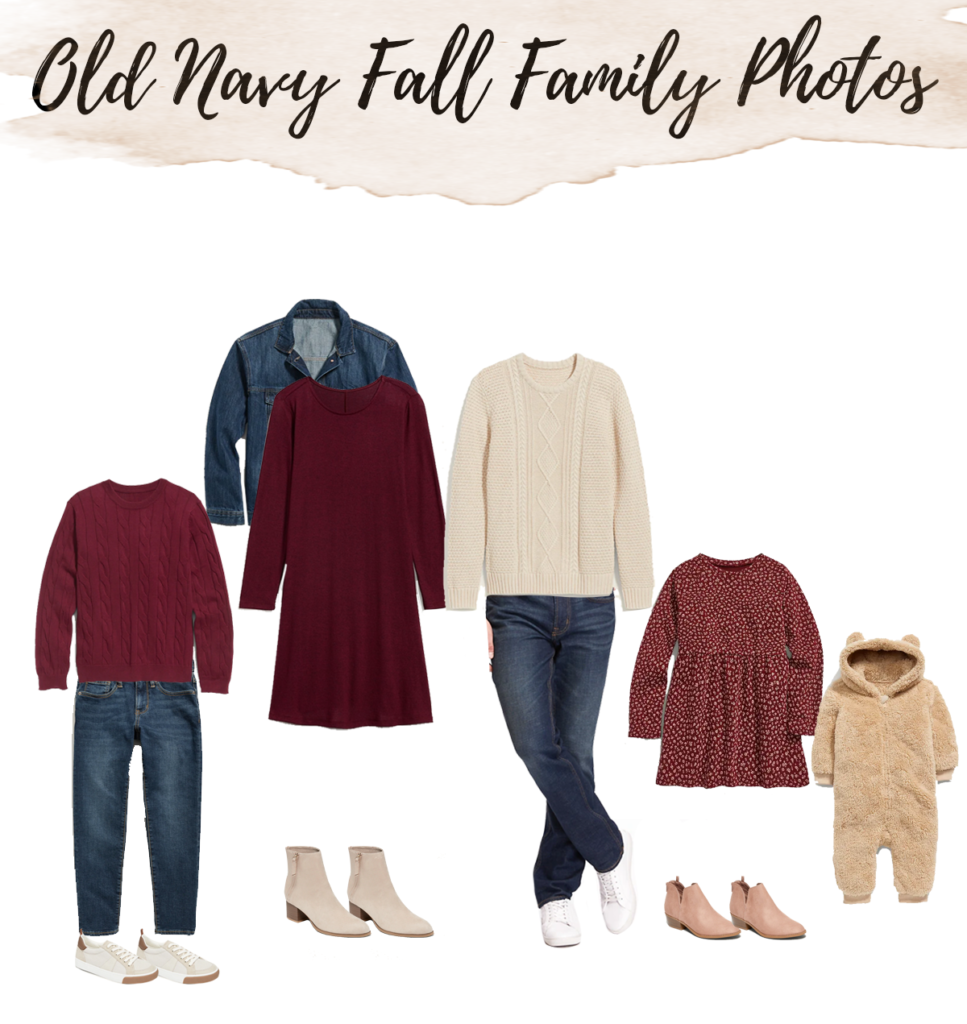 old navy affordable maroon color scheme fall outfit ideas for family photos