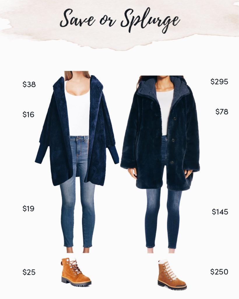 save or splurge navy fuzzy coat