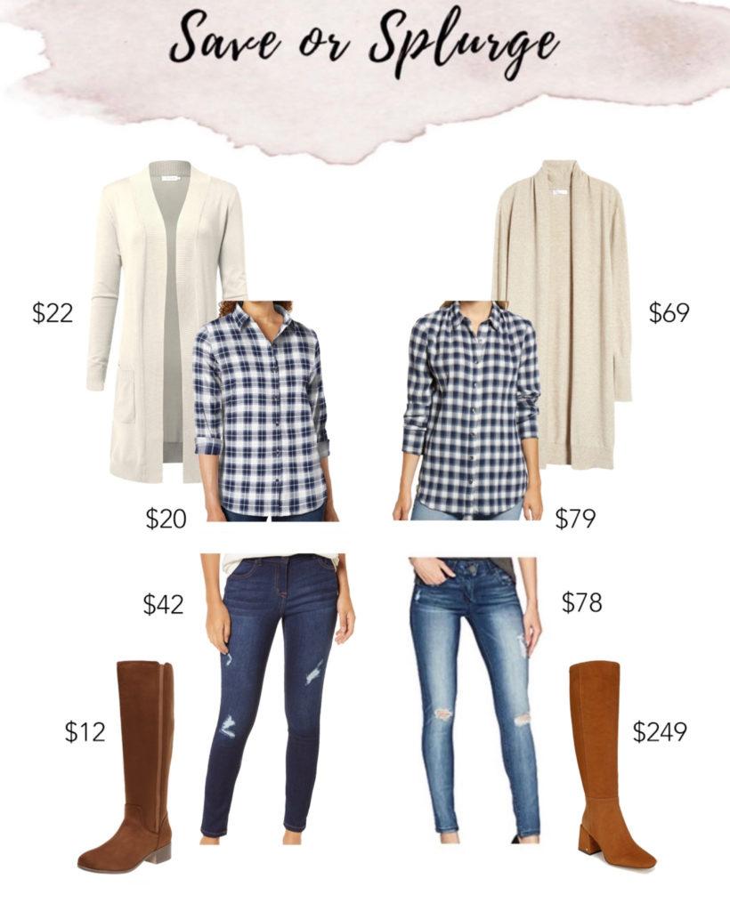 save or splurge plaid shirt long cardigan and knee high boots