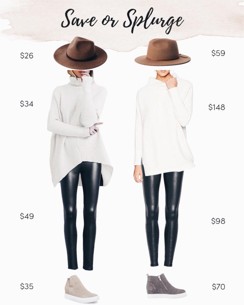 save or splurge amazon tunic with faux leather leggings
