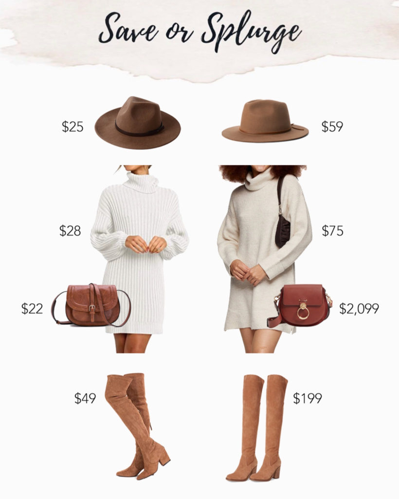 save or splurge amazon white sweater dress with over the knee boots