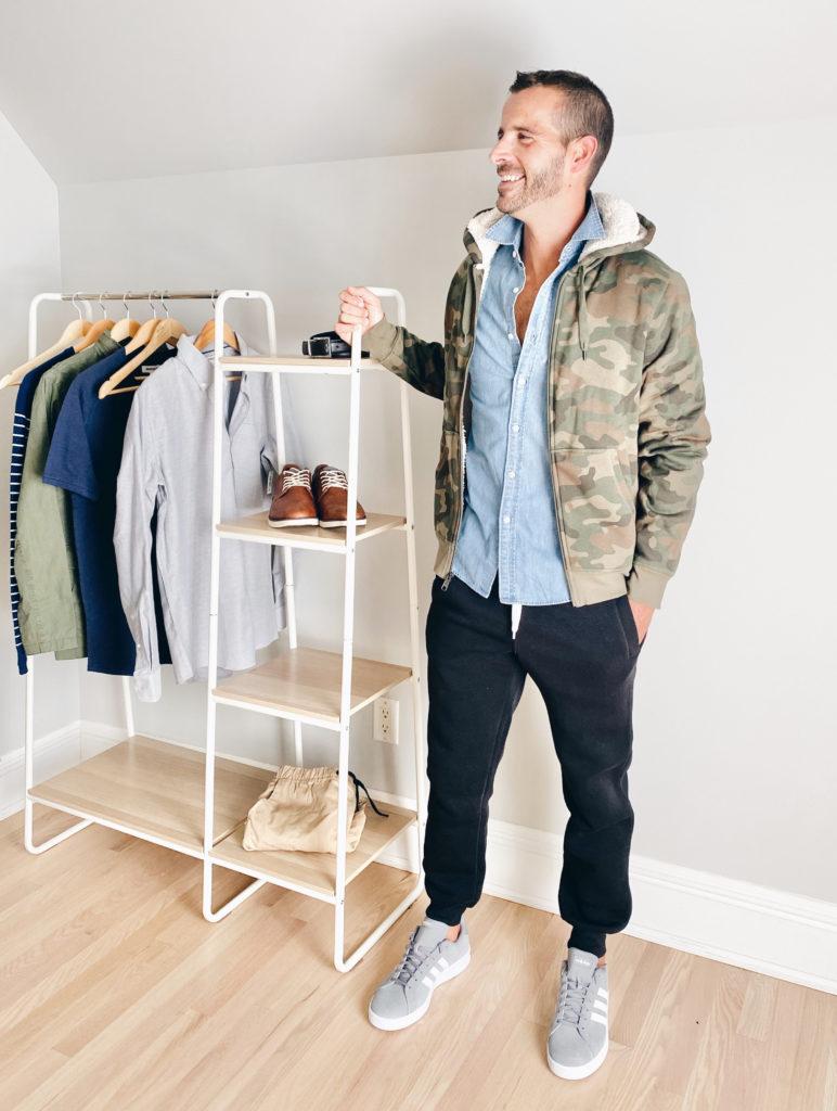 fleece camo jacket in a fall casual minimalist wardrobe for men