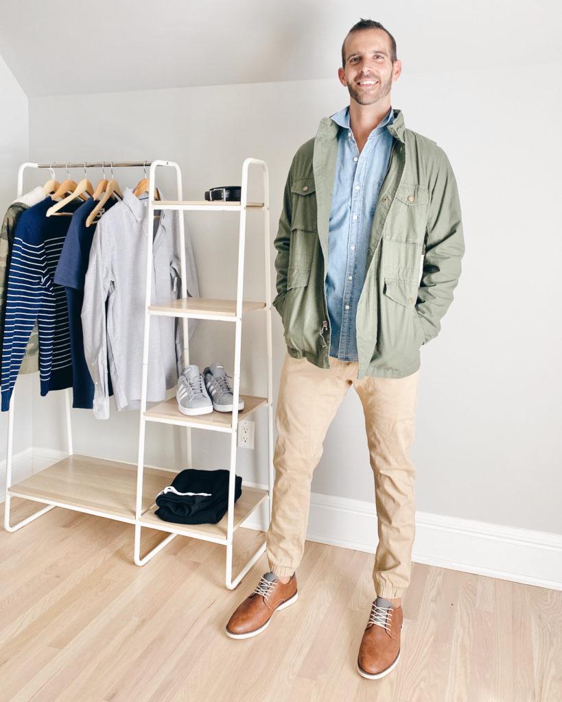mens amazon utility jacket and khaki pants outfit - fall casual capsule wardrobe 2020