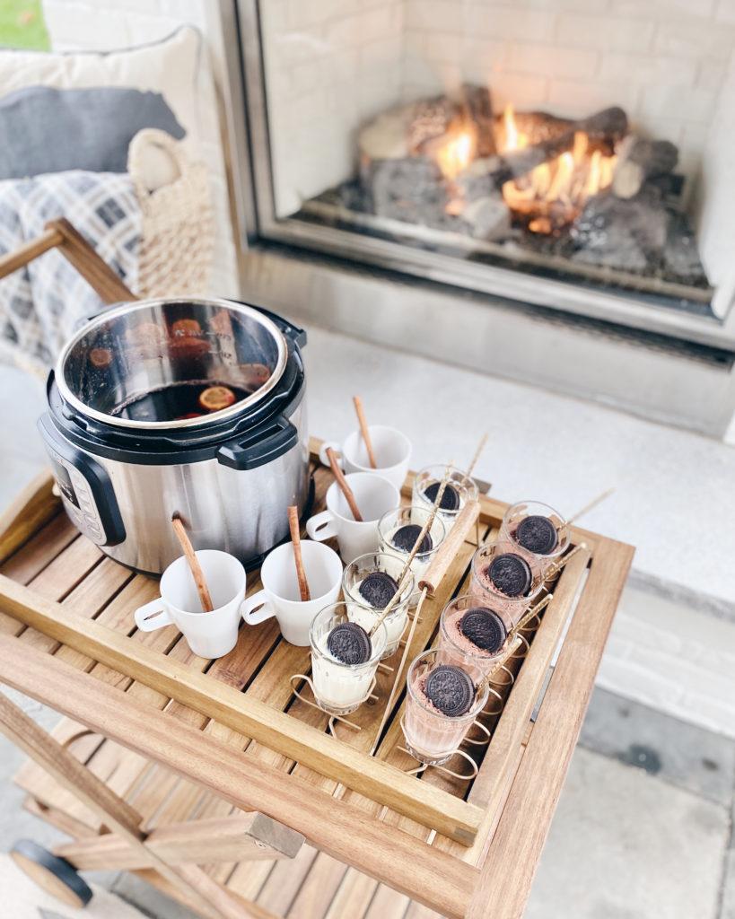 mulled wine and dessert night - outdoor gathering ideas - holiday season 2020