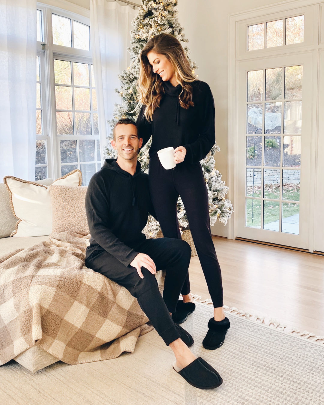 couples all black matching loungewear outfit