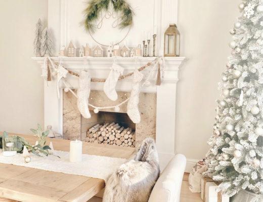 neutral christmas decor ideas for dining room