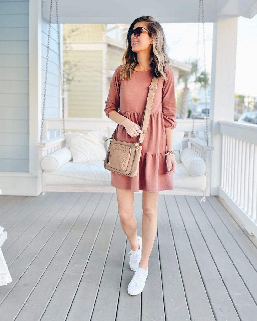 long sleeve babydoll mini dress with white sneakers outfit
