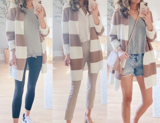 ann taylor striped shawl collar cardigan - cute spring transition outfit ideas