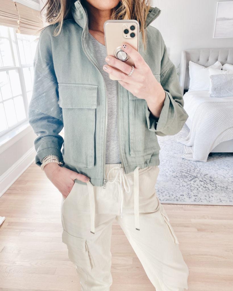 forever 21 sage green hooded zip up jacket