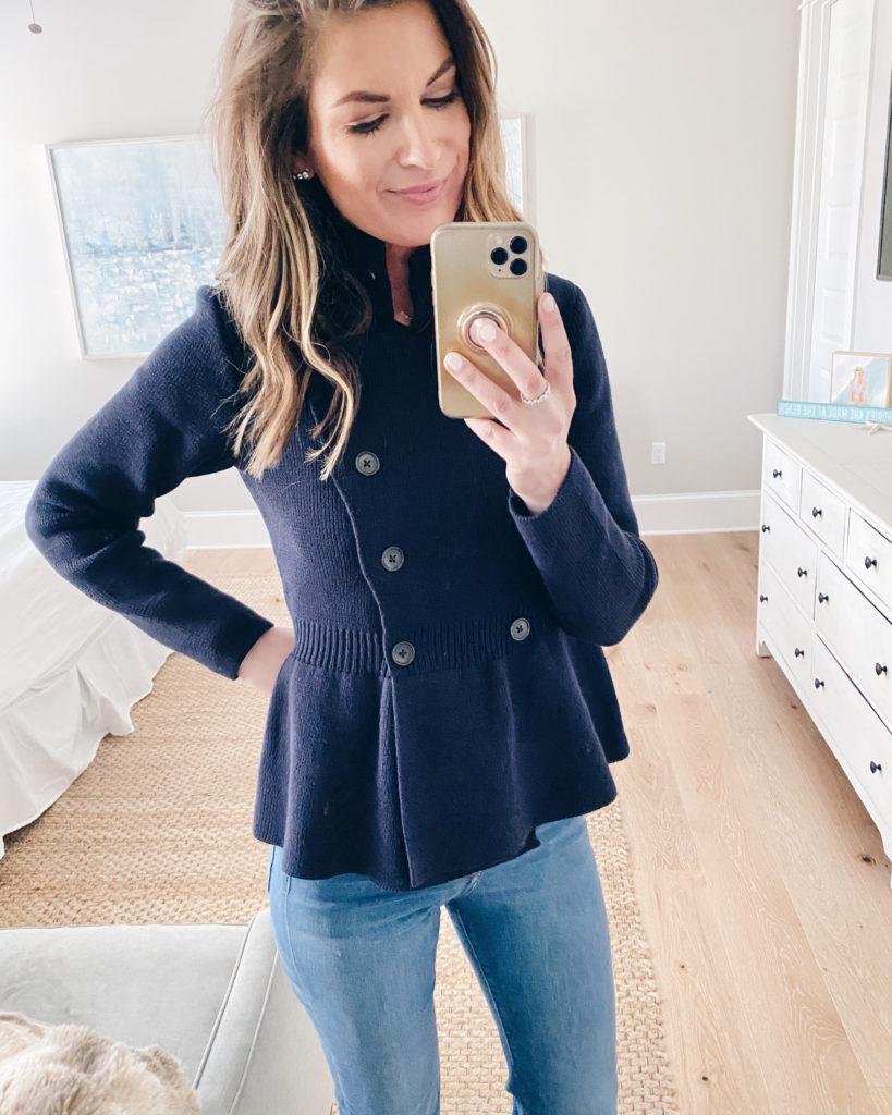 express navy double breasted peplum jacket