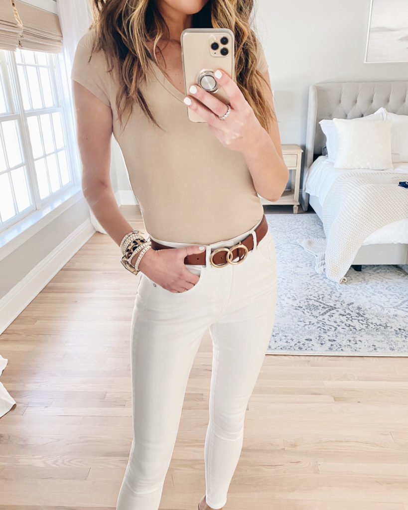 cute neutral spring casual outfit with beige tee and white jeans