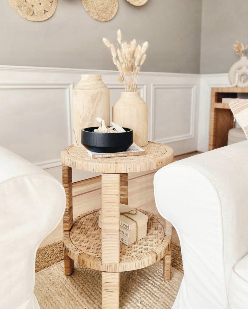 target round rattan accent side table