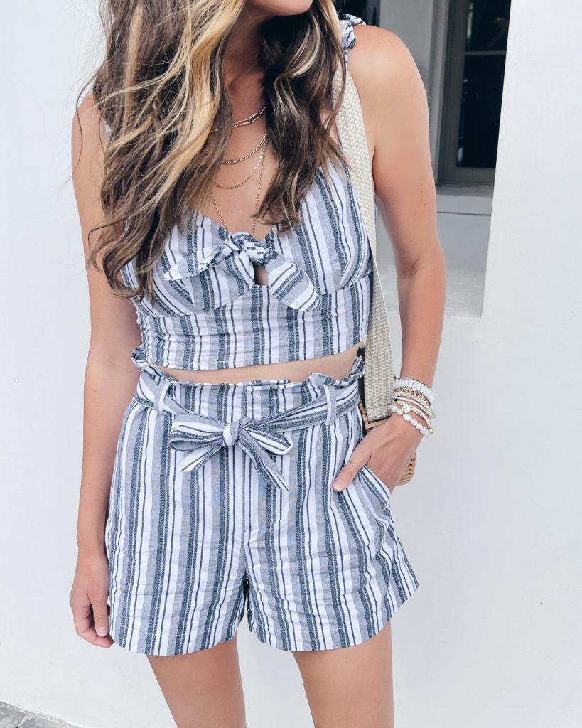 matching blue striped linen cami and tie waist shorts set