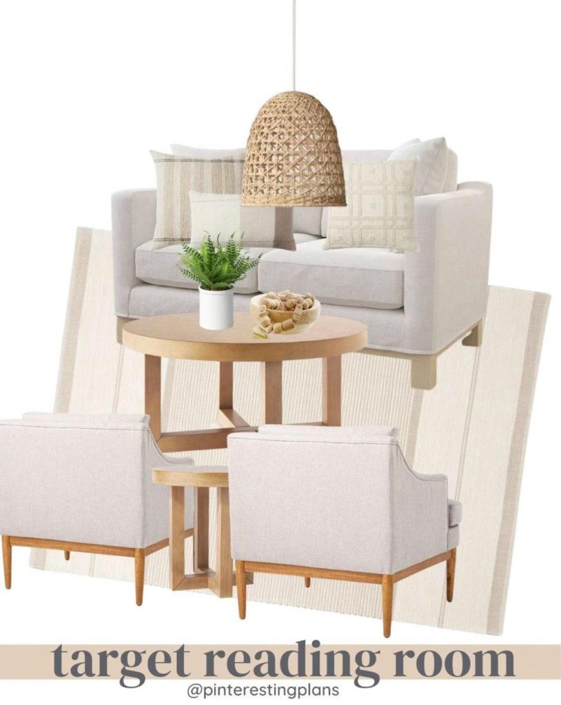 neutral modern coastal reading room design idea from target
