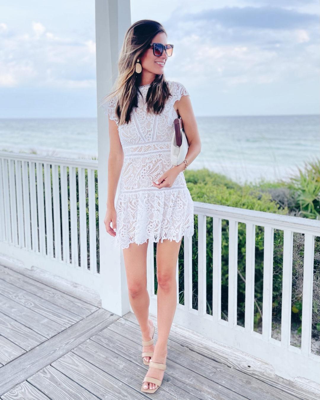 tall fashion blogger wearing white lace mini summer dress