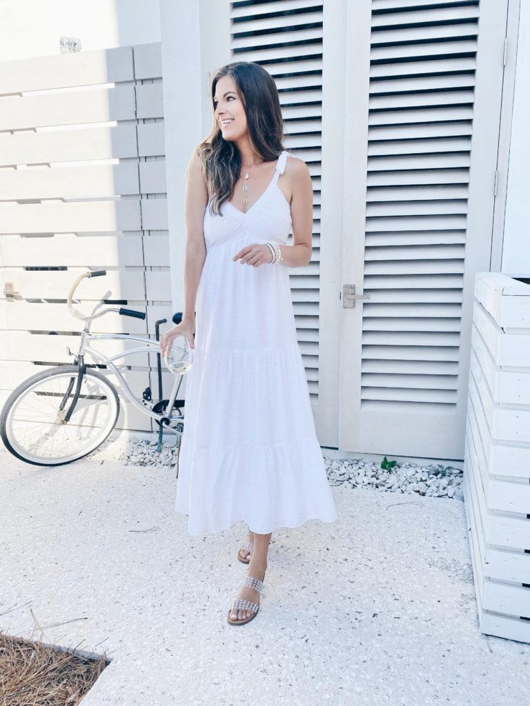 cute white maxi dress for summer 2021