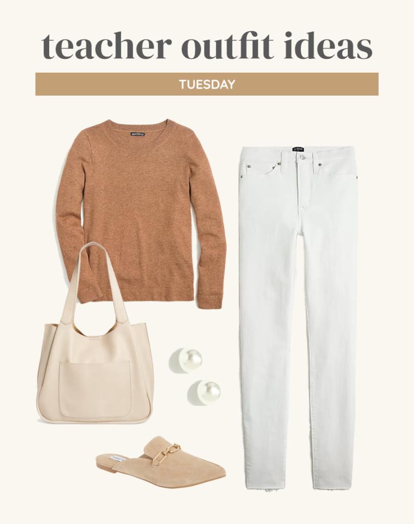 neutral fall outfit idea for teachers 2021