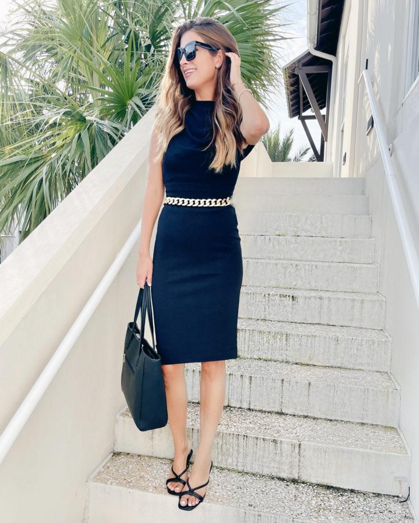 black midi sheath dress work outfit for fall 2021