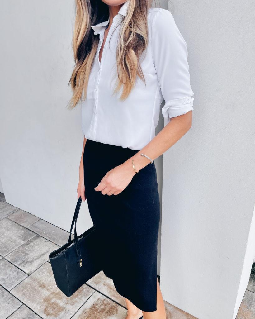 express white portofino button down shirt with black midi pencil skirt outfit